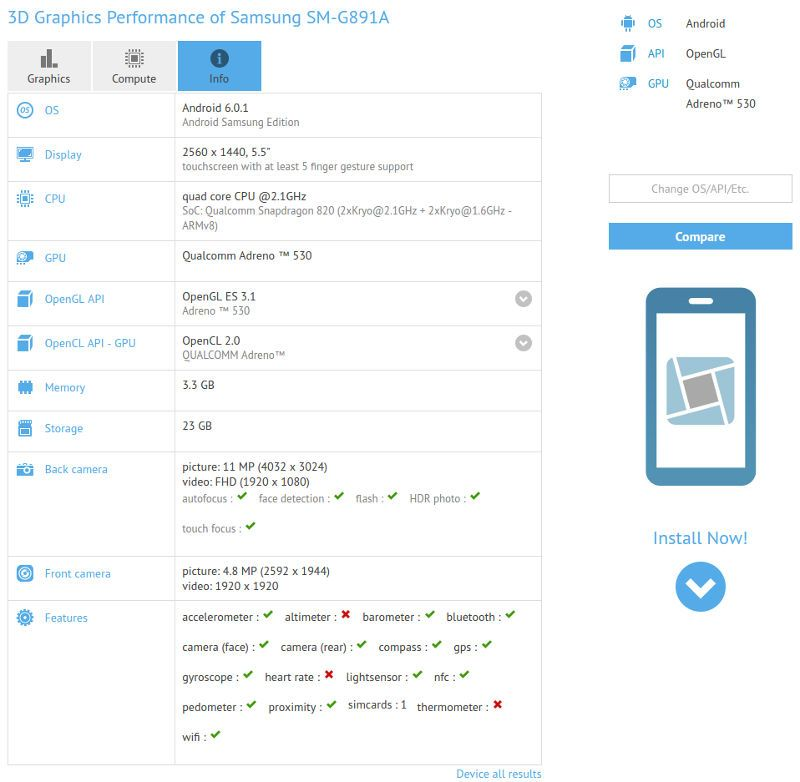 Характеристики Samsung Galaxy S7 Active согласно GFXBench