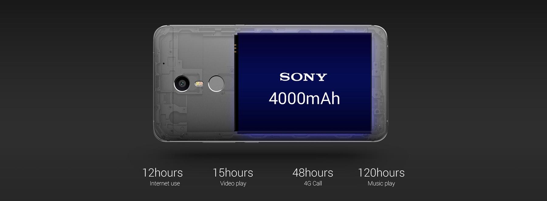 Аккумулятор: несъемный 4000 mAh, 4.35V, производства Sony