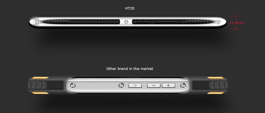 """HomTom HT20 в сравнении с """"типичным"""" защищенным смартфоном (угадывается Blackview BV6000)"""