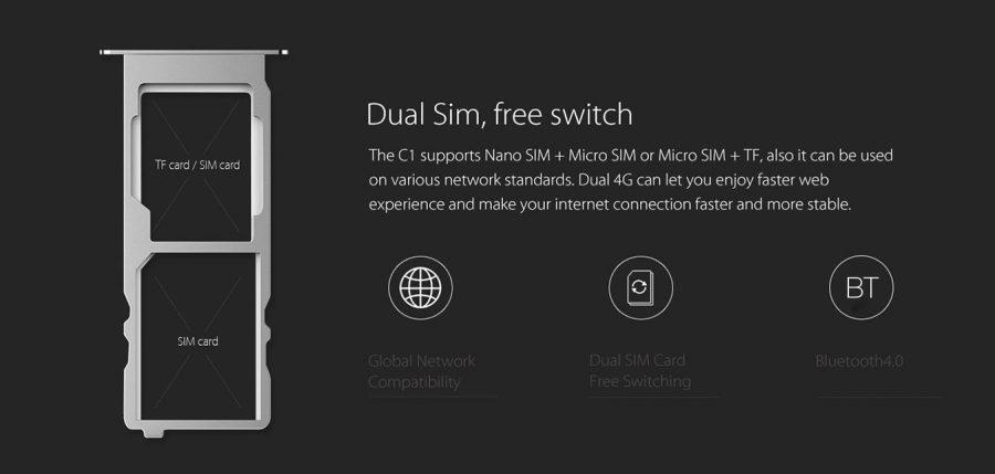 Elephone C1 позволяет установить две SIM-карты - nano-SIM и micro-SIM