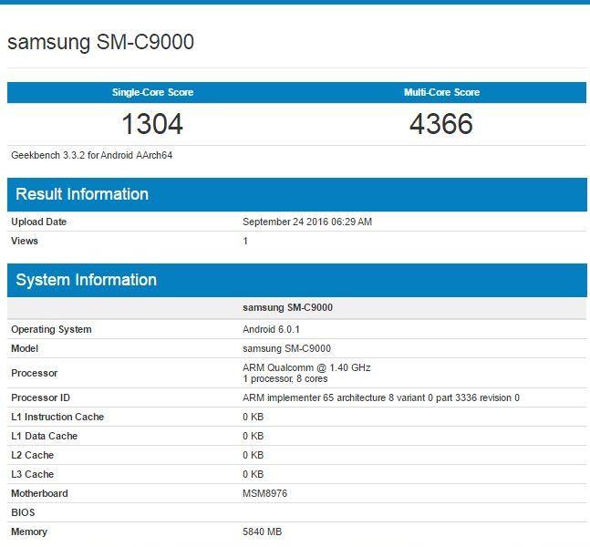 Характеристики Samsung Galaxy C9 в GeekBench