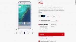 Цена Google Pixel на сайте Verizon