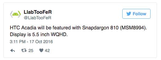 Предполагается использование Qualcomm Snapdragon 810
