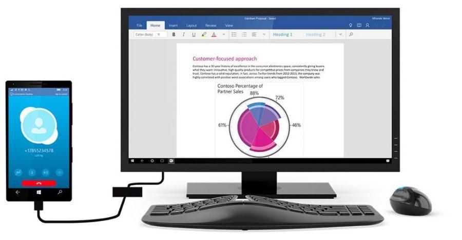 Демонстрация функции Microsoft Windows 10 Continuum