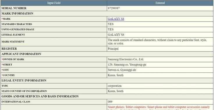 Торговая марка Samsung Galaxy S8 зарегистрирована в США