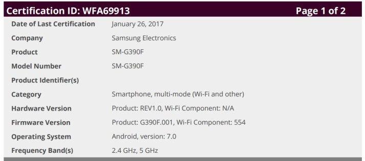 """Выписка"" с характеристиками Samsung Galaxy Xcover 4 из базы данных Wi-Fi Alliance"