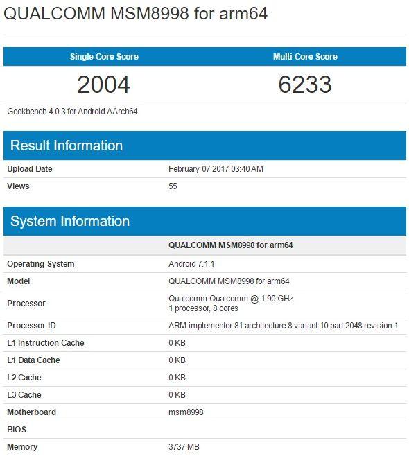 Показатели Snapdragon 835 в Geekbench