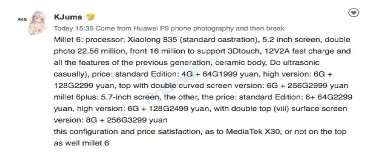 Варианты Xiaomi Mi6