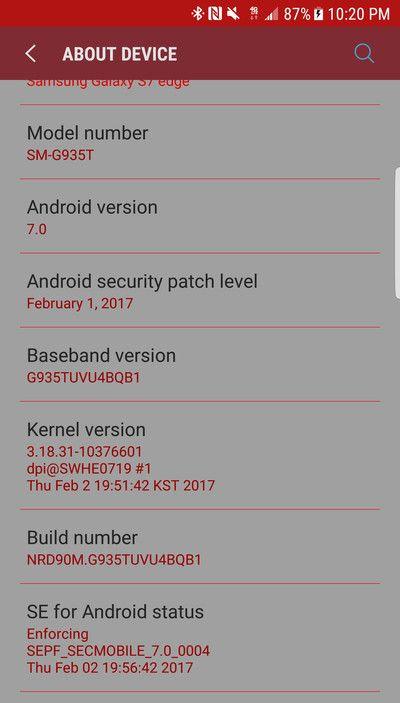 На скриншоте: Samsung Galaxy S7 Edge SM-G935T (T-Mobile) обновился до Nougat