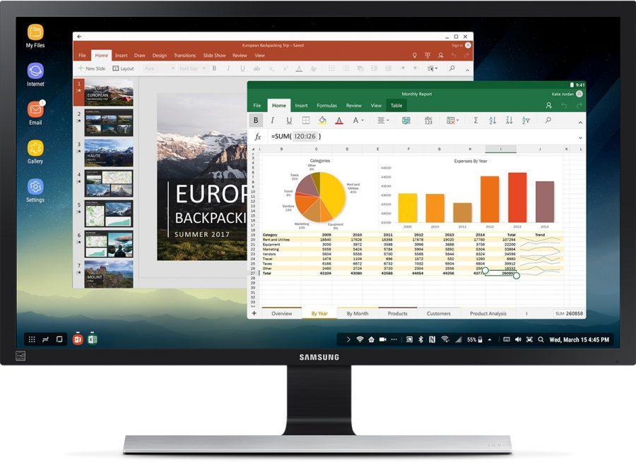 Пакет MS Office, запущенный на Samsung DeX