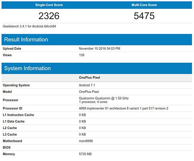 Результаты теста производительности OnePlus 3T в GeekBench (для сравнения)