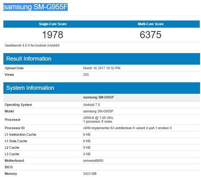 Результаты тестирования Exynos 8895 в GeekBench на примере Samsung Galaxy S8 Plus SM-G955F