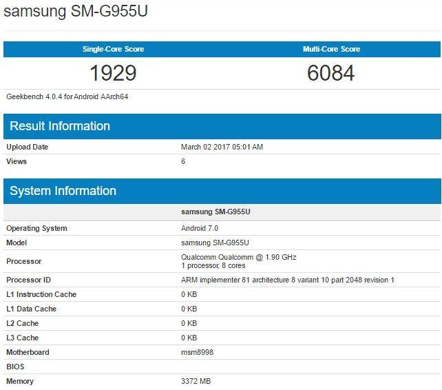 Результаты тестирования Snapdragon 835 в GeekBench на примере Samsung Galaxy S8 Plus SM-G955U
