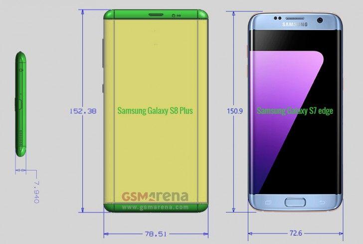 Размеры Samsung Galaxy S8 Plus в сравнении с Galaxy S7 Edge