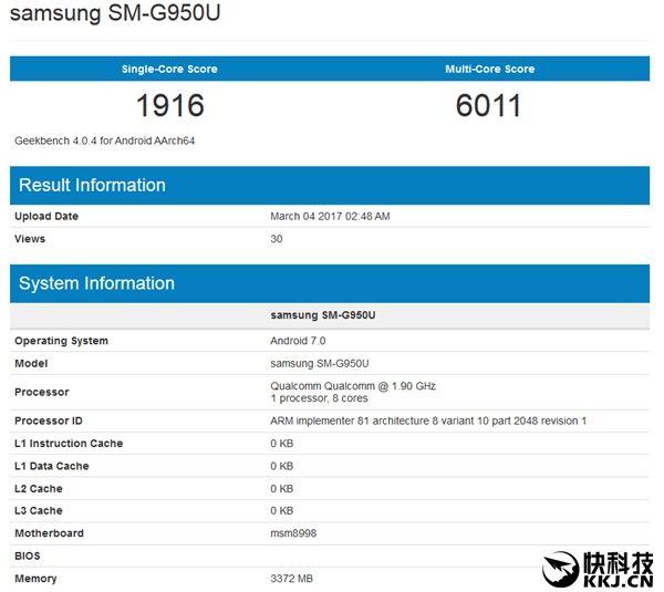 Производительность Samsung Galaxy S8 (SM-G950U) по оценке GeekBench
