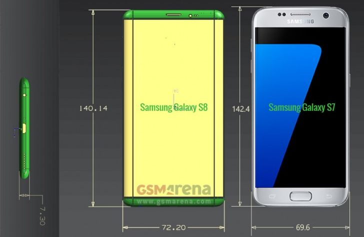 Размеры Samsung Galaxy S8 в сравнении с Galaxy S7