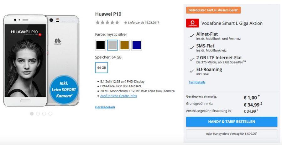 Уже сейчас можно купить Huawei P10 у немецкого ритейлера Sparhandy