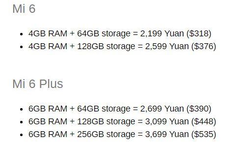 Предварительная раскладка по ценам разных модификаций Xiaomi Mi6 для внутреннего рынка Китая