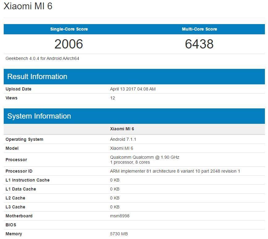 Xiaomi Mi6 в GeekBench