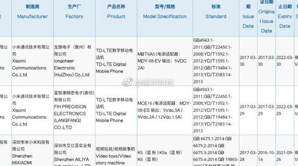 Xiaomi Mi6 с модельным номером MCE16 в базе агентства 3C