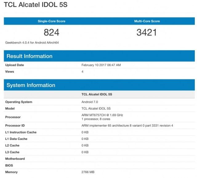 Результат тестирования Alcatel Idol 5S в популярном бенчмарке GeekBench