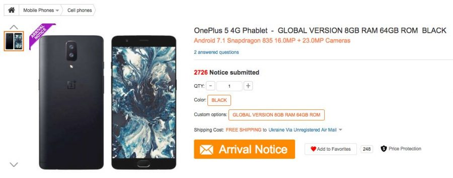OnePlus 5 в каталоге интернет-магазина GearBest