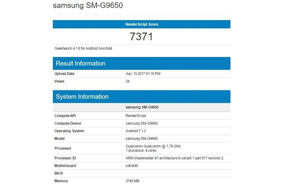 Samsung Galaxy S9 Plus (SM-G9650) засветился в базе Geekbench