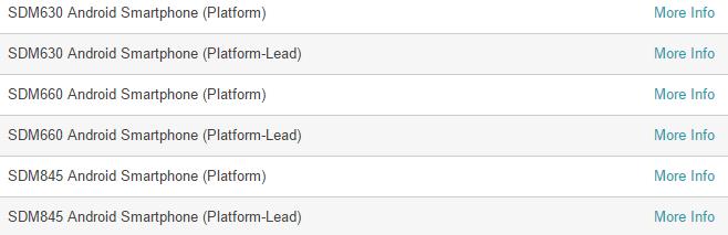 Первое упоминание Qualcomm Snapdragon 845 (SMD845) на официальном сайте производителя
