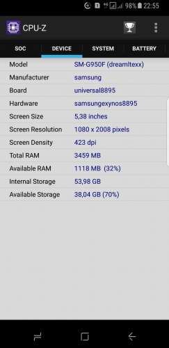 Samsung Galaxy S8 SM-G950F в CPU-Z
