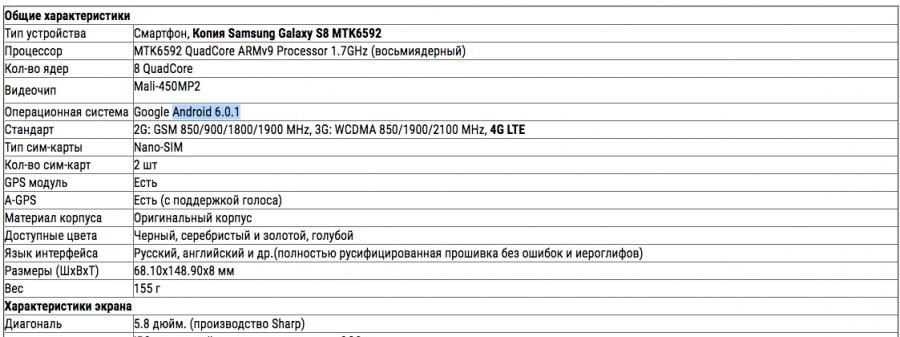 Копия Samsung Galaxy S8 MTK6592