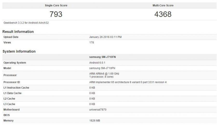 Результаты Samsung Galaxy J7 (2016) в GeekBench