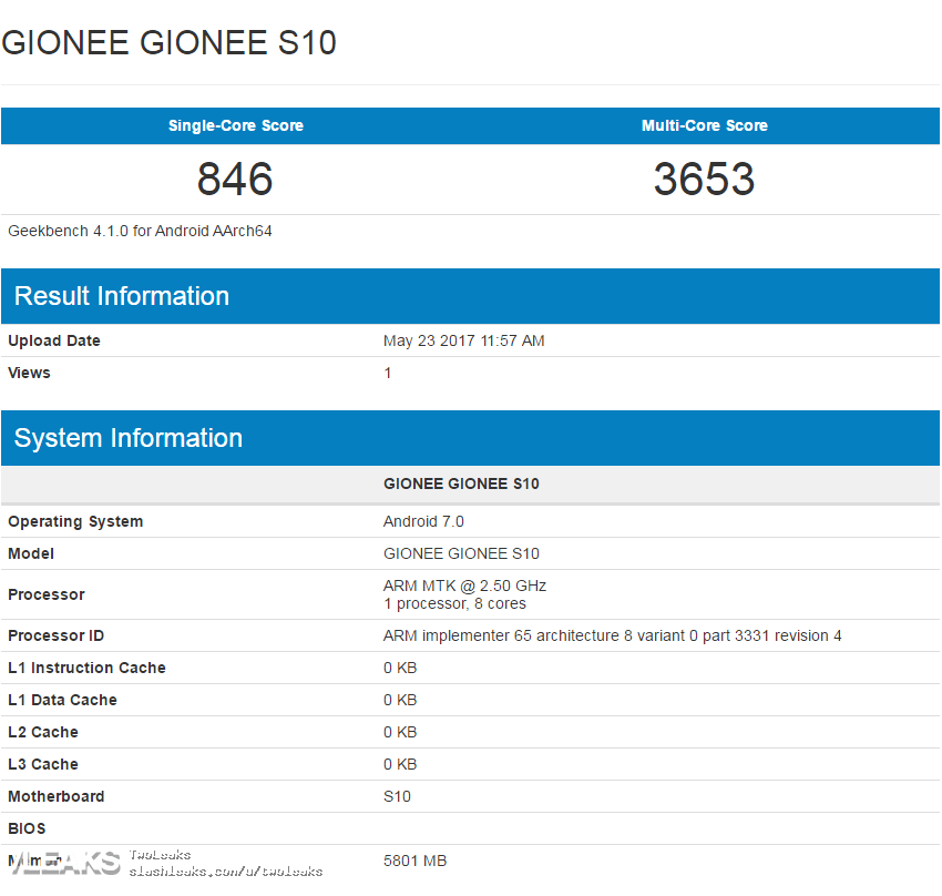 Результат Gionee S10 на базе MediaTek Helio P25 (MT6757T) в GeekBench