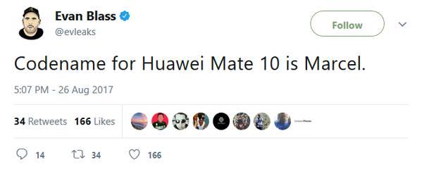 Evan Blass подтверджает выход Huawei Mate 10 и называет его кодовое имя