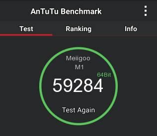 ПроизводительностьMeiigoo M1 в популярном бенчмарке AnTuTu