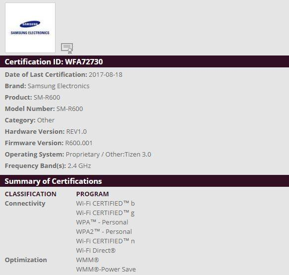 Некоторы характеристики Samsung Gear Sport (SM-R600) из базы данных Wi-Fi Alliance