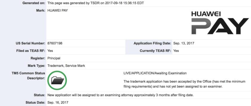 Заявка на регистрацию торговой марки Huawei Pay в США
