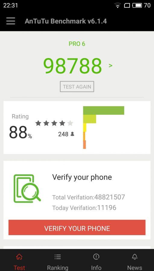 """Meizu Pro 6 не смог """"перепрыгнуть"""" планку в 100k"""