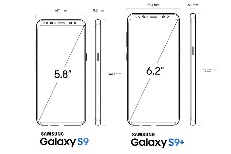 Размеры Samsung Galaxy S9 и S9 Plus: чуть меньше предшественников