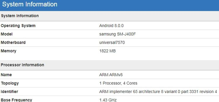Характеристики Samsung Galaxy J4 в популярном бенчмарке GeekBench 4