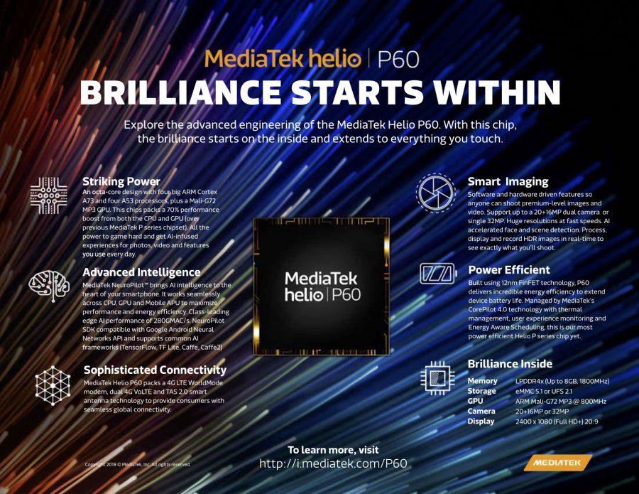 Официальный слайд производителя с фишками MediaTek Helio P60