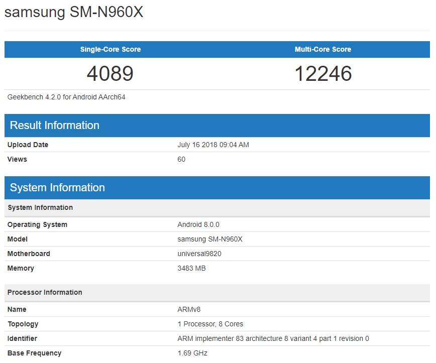Характеристики Samsung Galaxy Note 9