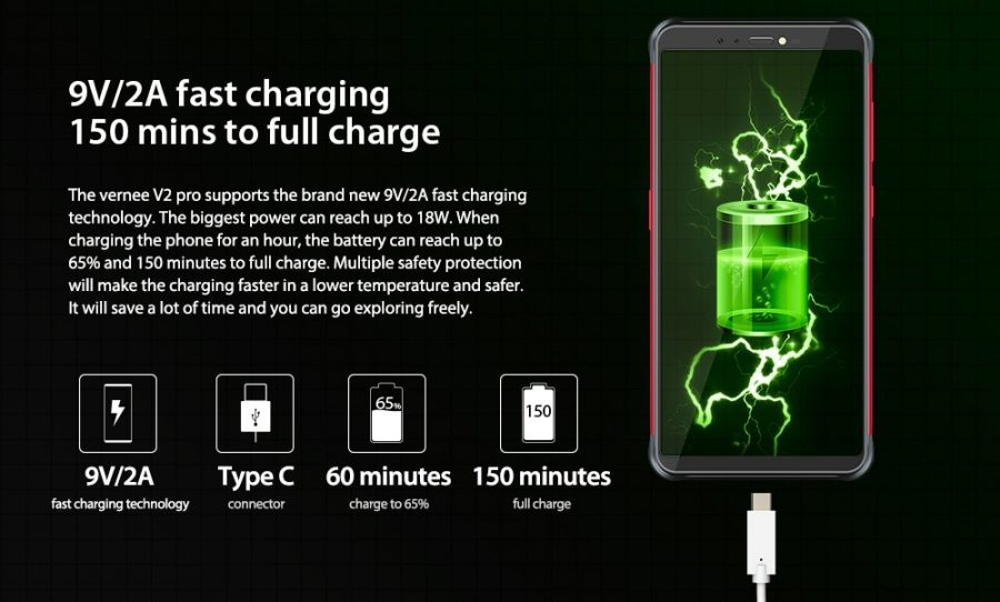 Параметры батареи Vernee V2 Pro