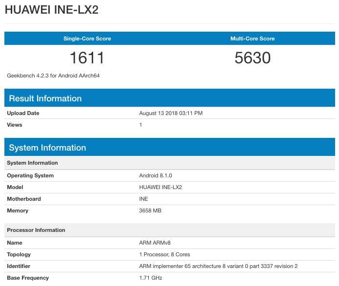 Результаты тестирования Huawei Nova 3i на базе HiSilicon Kirin 710