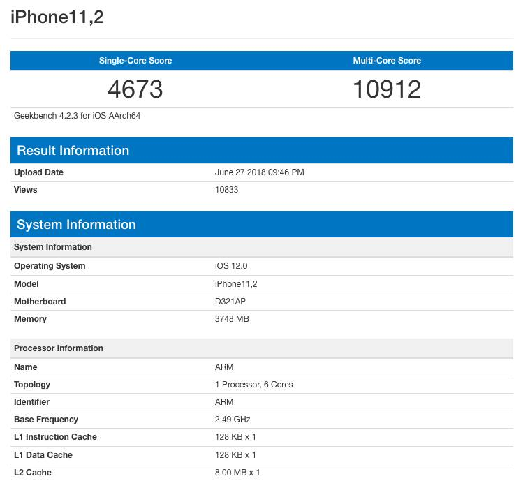 Apple A12 в GeekBench