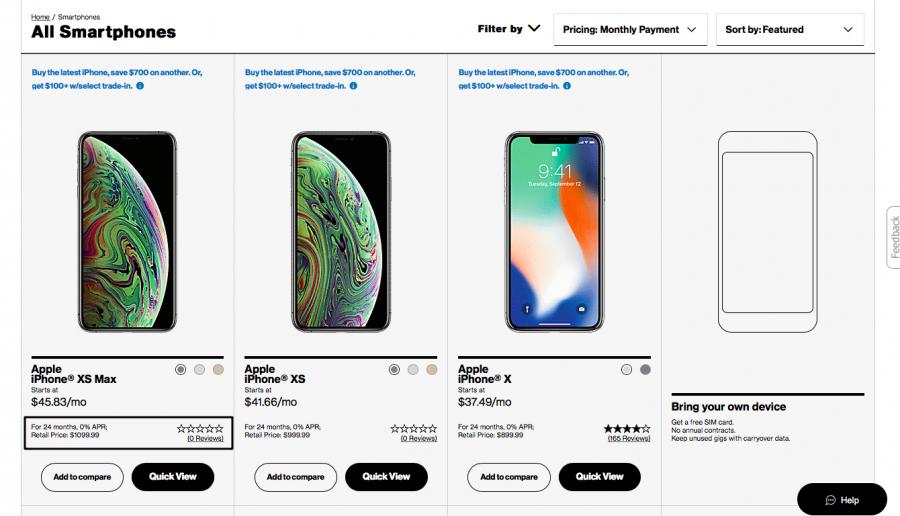 Бесплатный Apple iPhone XS от Verizon