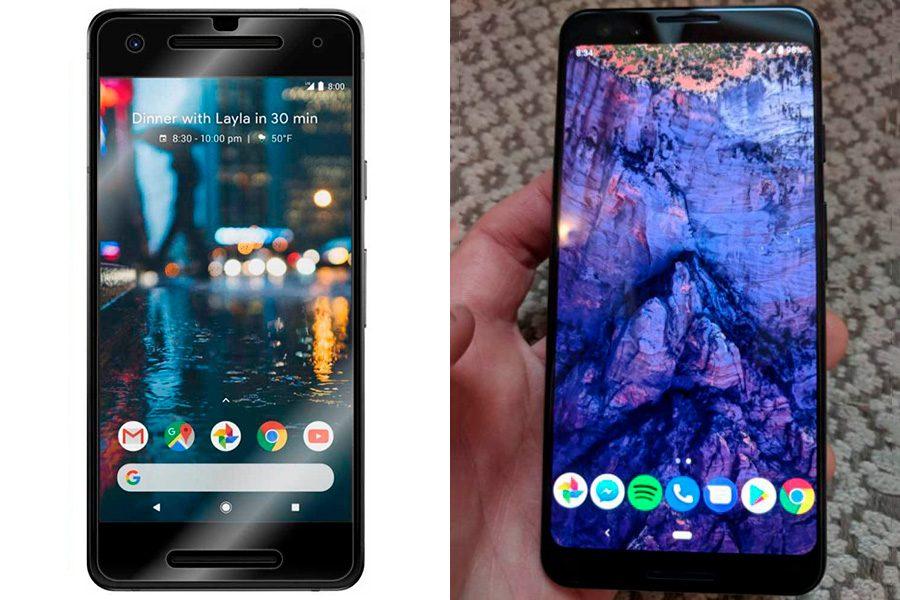 Сравнение Google Pixel 3 (справа) и Pixel 2 (слева)
