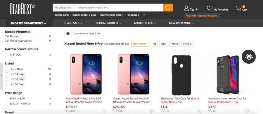 Xiaomi Redmi Note 6 Pro в каталоге Gearbest