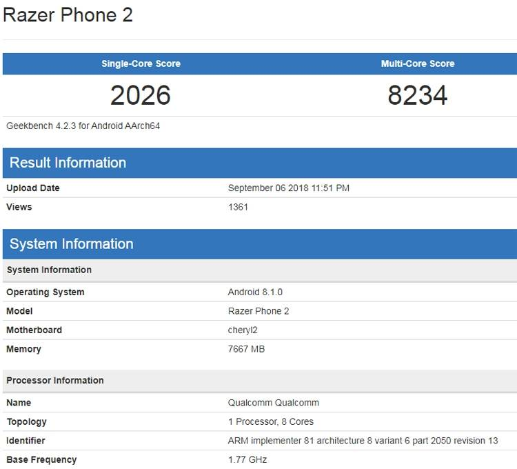 Razer Phone 2 в Geekbench