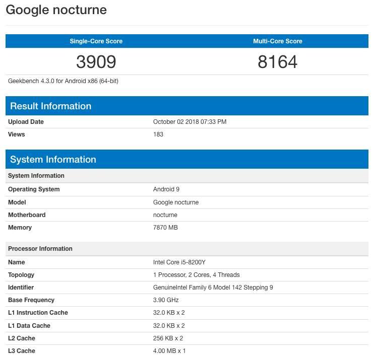 Google Pixel Slate в GeekBench