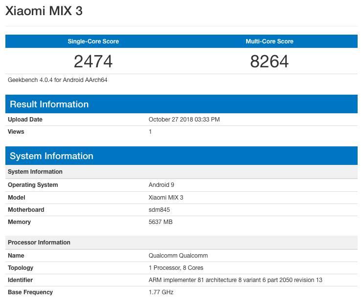 Результаты Xiaomi Mi Mix 3 в GeekBench